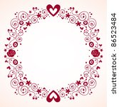 decorative hearts and flowers frame vintage style - stock vector