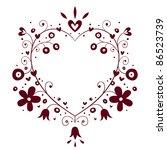 romantic heart frame - stock vector