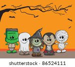 cute halloween card  ... | Shutterstock .eps vector #86524111