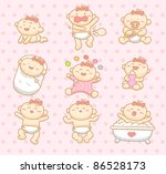 hand drawn baby girl collection | Shutterstock .eps vector #86528173