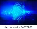 illustration of conceptual technological background with human head - stock vector
