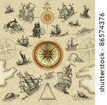 sailboats with compass... | Shutterstock . vector #86574376
