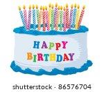 Blue Happy Birthday Cake