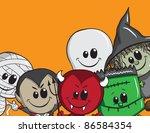 cute halloween card  ... | Shutterstock .eps vector #86584354