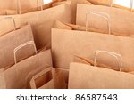 Shopping brown recycle gift bags background - stock photo