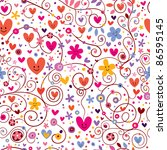 hearts & flowers floral pattern - stock vector