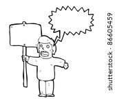 man with placard cartoon | Shutterstock .eps vector #86605459