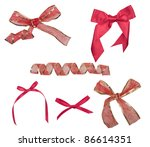 set of red ribbon satin bows isolated on white - stock photo