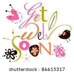get well soon script card | Shutterstock .eps vector #86615317