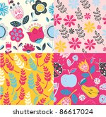 set of decorative floral... | Shutterstock .eps vector #86617024