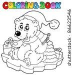 coloring book christmas bear  ... | Shutterstock .eps vector #86623546