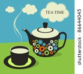 Cute Tea Time Card. Vector...