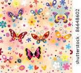 colorful butterflies pattern | Shutterstock .eps vector #86648602