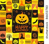halloween background with bats... | Shutterstock .eps vector #86653783