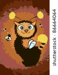 illustration with cute cat and... | Shutterstock .eps vector #86664064
