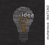 bulb idea made by typography on ... | Shutterstock .eps vector #86671363