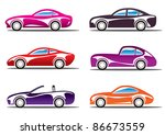 luxury sport cars silhouettes   ... | Shutterstock .eps vector #86673559