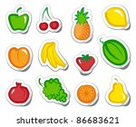 set of simple images fruit on... | Shutterstock .eps vector #86683621