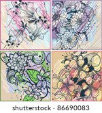 vector set of colorful floral... | Shutterstock .eps vector #86690083