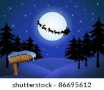 Santa's sleigh in front of the moon and wood sign with North Pole, vector illustration - stock vector