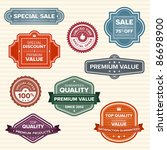 set of 9 vintage retro labels... | Shutterstock .eps vector #86698900