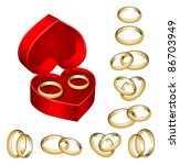 set of gold wedding rings with... | Shutterstock .eps vector #86703949