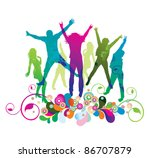 young people on the party . the ... | Shutterstock . vector #86707879