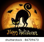 Stock vector halloween illustration with black cat on moon background check my portfolio for raster version 86709673