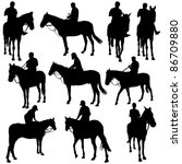 vector silhouettes of horse... | Shutterstock .eps vector #86709880