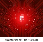 circuit board vector red...