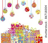background with christmas balls ... | Shutterstock .eps vector #86718304