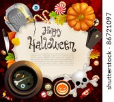 halloween card with different... | Shutterstock .eps vector #86721097