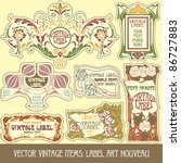 vector vintage items  label art ... | Shutterstock .eps vector #86727883