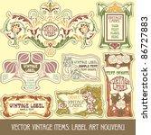 vector vintage items  label art ... | Shutterstock .eps vector #86727883