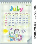 calendar for july 2012. the... | Shutterstock .eps vector #86728786