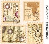 set of vintage stamps | Shutterstock .eps vector #86734393