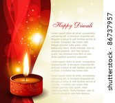 diwali diya on artistic glowing ... | Shutterstock .eps vector #86737957