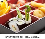 funny japanese meal in a box ... | Shutterstock . vector #86738062