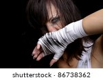 young female fighter ready for... | Shutterstock . vector #86738362