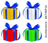 four various color silver gift... | Shutterstock . vector #86748916