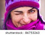 Woman In Pink Woolen Cap.