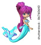 Cute toon style mermaid with bright blue and white fish scales and purple hair, 3d digitally rendered illustration isolated on a white background - stock photo