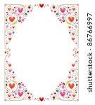 decorative cute hearts frame - stock vector
