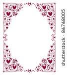 decorative hearts frame - stock vector