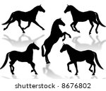 black horse silhouettes in... | Shutterstock . vector #8676802