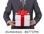 Businessman Present Gift Box...