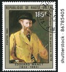 Small photo of BURKINA FASO - CIRCA 1983: stamp printed by Burkina Faso, shows Self-portrait at the palette, by Manet, circa 1983