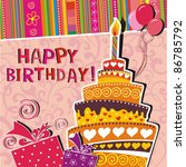vector card with birthday cake | Shutterstock .eps vector #86785792