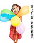 Smiling little girl with color balloons, isolated on white - stock photo