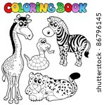 Coloring Book Tropical Animals...